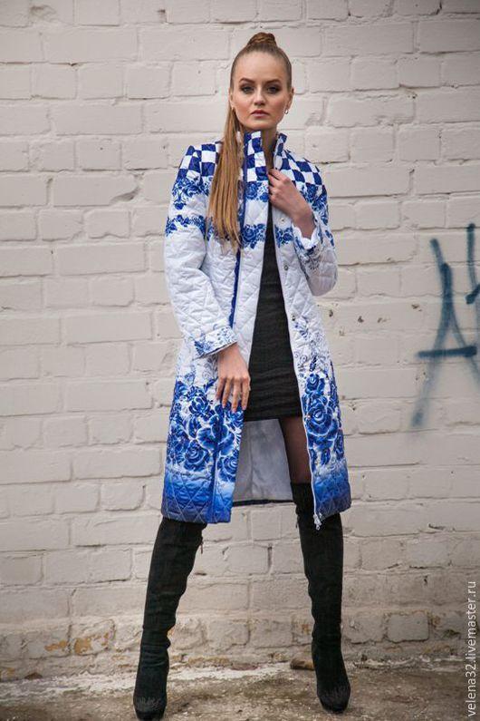 """Верхняя одежда ручной работы. Ярмарка Мастеров - ручная работа. Купить Пальто """"Шикарная гжель"""". Handmade. Пальто женское, синий"""