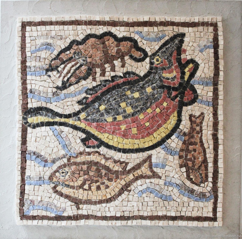 Римская мозаика с рыбами и креветкой, Картины, Санкт-Петербург,  Фото №1