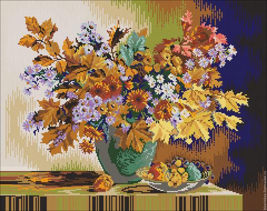 Схема для вышивания с полной зашивкой бисером `Осенний букет`