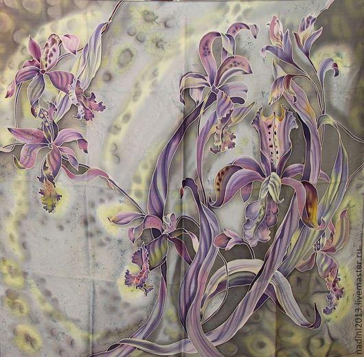 Шёлковый платок выполнен в технике холодный батик на натуральном шёлке. По желанию может быть выполнен на другой ткани, которая имеется у нас в наличии и можно поменять колорит.