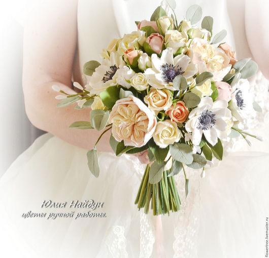 Букеты ручной работы. Ярмарка Мастеров - ручная работа. Купить Букет невесты с цветами  из полимерной глины. Handmade. Белый, decoclay