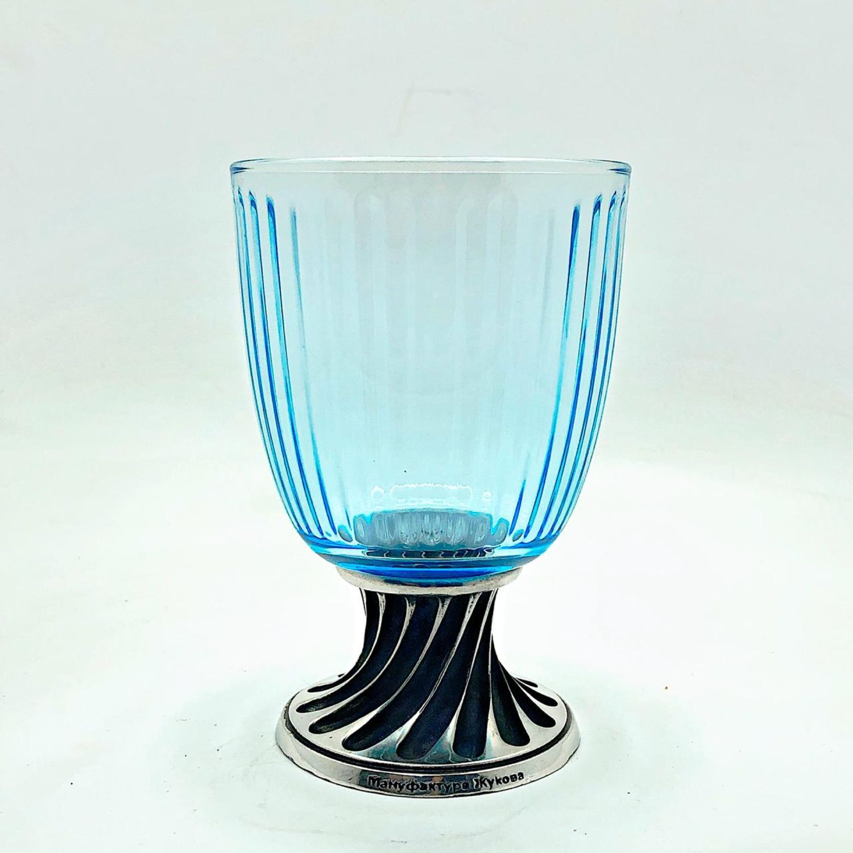 Glass 'BLUE Ice' of Italian glass on the leg 'VINTAGE' (wine / beer), Wine Glasses, Zhukovsky,  Фото №1