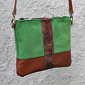 Сумки и аксессуары handmade. Livemaster - original item Handbag purse with shoulder strap made of suede and leather Red with green. Handmade.