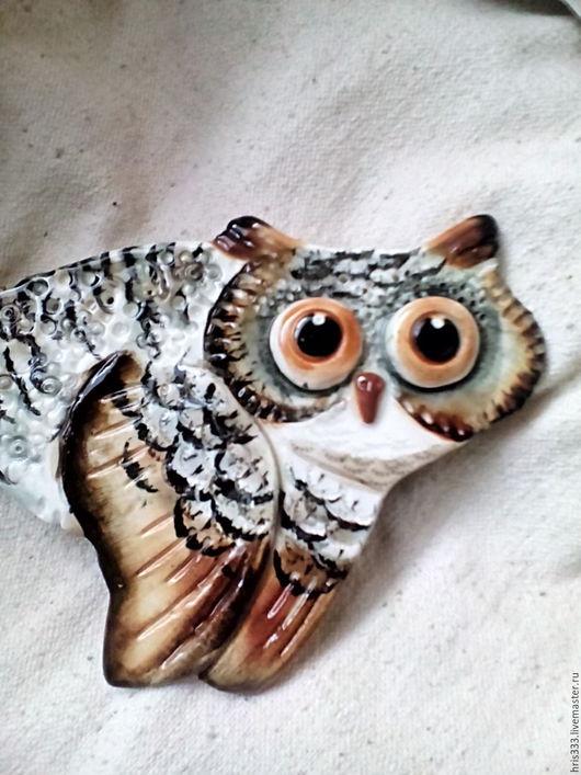 """Животные ручной работы. Ярмарка Мастеров - ручная работа. Купить керапмическое панно"""" сова мудрая"""". Handmade. Сова, керамическое панно"""