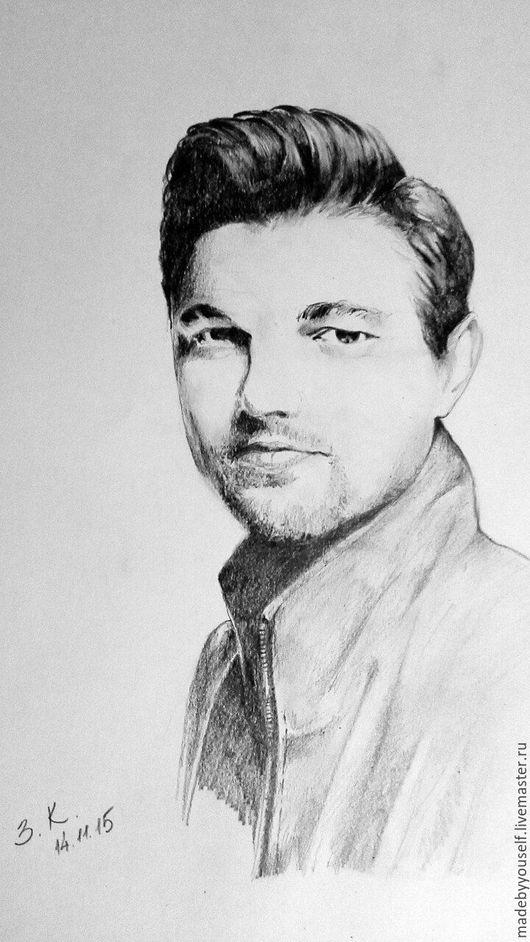 Люди, ручной работы. Ярмарка Мастеров - ручная работа. Купить Портрет по фото. Леонардо ди Каприо. Handmade. Чёрно-белый