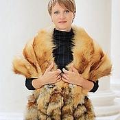 Аксессуары handmade. Livemaster - original item Fox fur stole with tail in red. Handmade.