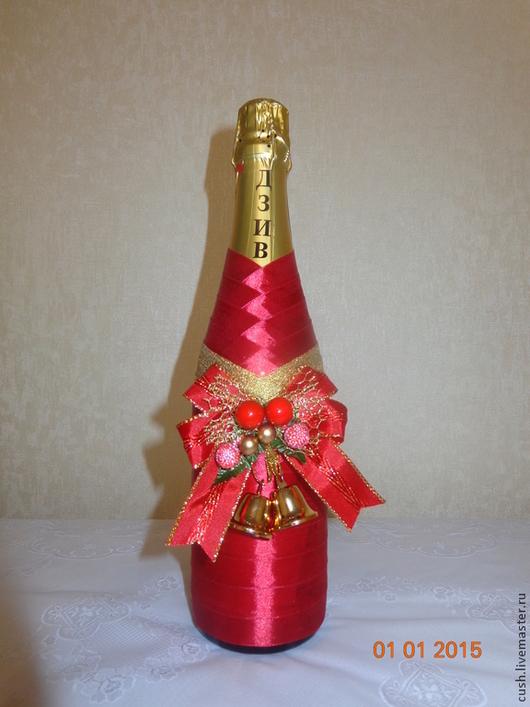 Новый год 2017 ручной работы. Ярмарка Мастеров - ручная работа. Купить Оформление шампанского в новогоднем стиле. Handmade. Ярко-красный