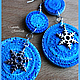 """Серьги ручной работы. Ярмарка Мастеров - ручная работа. Купить """"Декабрь"""" (2) серьги из полимерной глины. Handmade. Серьги, голубой"""