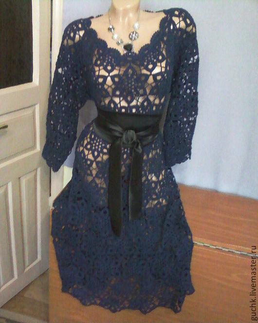 """Платья ручной работы. Ярмарка Мастеров - ручная работа. Купить Платье """"Звездная ночь"""". Handmade. Тёмно-синий, платье вечернее"""