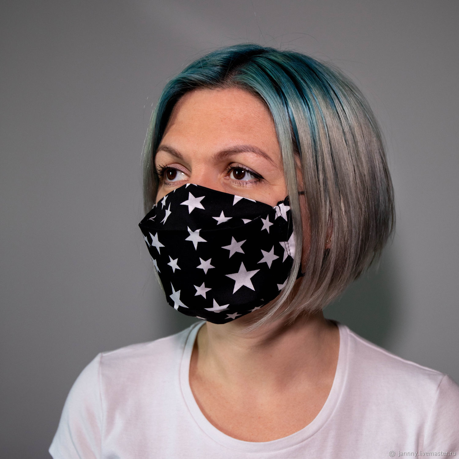 Reusable mask ' White stars', Protective masks, Moscow,  Фото №1