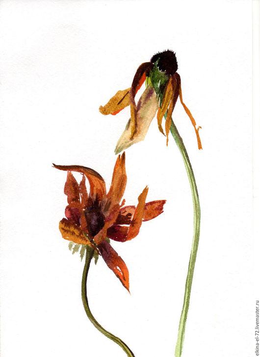 Картины цветов ручной работы. Ярмарка Мастеров - ручная работа. Купить Осенние цветы. Handmade. Рыжий, коричневый, терракотовый