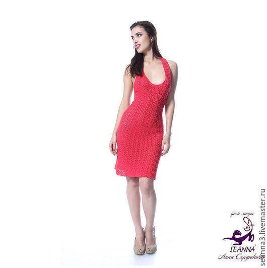 """Платья ручной работы. Ярмарка Мастеров - ручная работа. Купить Платье-сарафан вязаный крючком """"Красный ажурчик"""" из вискозы с хлопком. Handmade."""