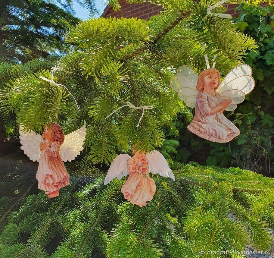 Porcelain set of Christmas toys 'Angels'.Franklin Mint, Vintage Souvenirs, Cambridge,  Фото №1