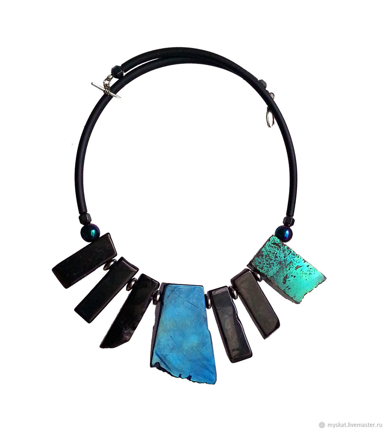 Necklace with large agate and pyrite, Necklace, Moscow,  Фото №1