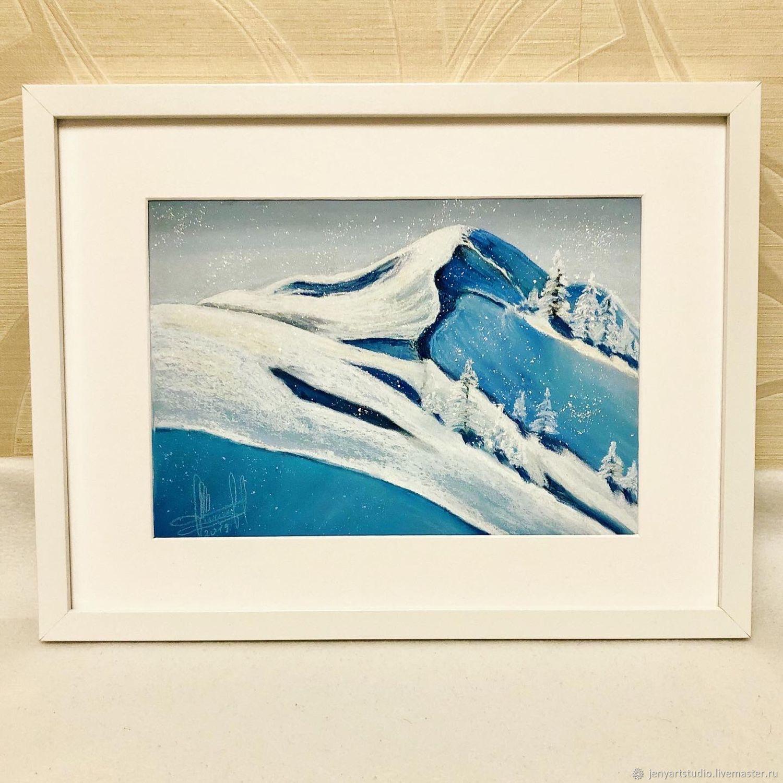 Pastel painting 'Snow mountains' winter landscape blue color, Pictures, Kolomna,  Фото №1