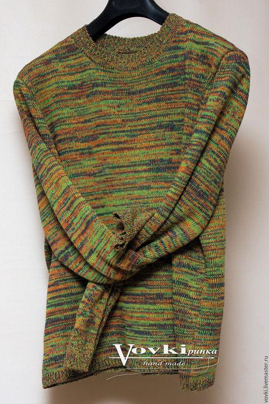 Для мужчин, ручной работы. Ярмарка Мастеров - ручная работа. Купить Мужской джемпер спицами вязанный из хлопка, цветной. Handmade.