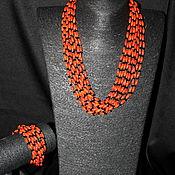 Украшения ручной работы. Ярмарка Мастеров - ручная работа Многорядное колье и браслет из натурального коралла. Handmade.
