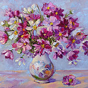 Картины и панно handmade. Livemaster - original item Oil painting flowers field Bouquet Cosma, cosmos in a vase. Handmade.