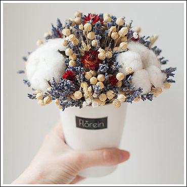 Цветы и флористика. Ярмарка Мастеров - ручная работа Кашпо букет с сухоцветами. Handmade.