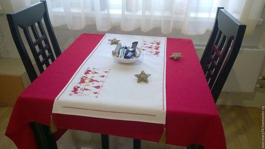 Текстиль, ковры ручной работы. Ярмарка Мастеров - ручная работа. Купить Новогодняя дорожка на стол Гномики. Handmade. Дорожка на стол