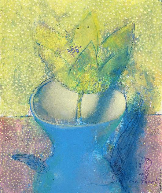Фантазийные сюжеты ручной работы. Ярмарка Мастеров - ручная работа. Купить цветок в синей вазе. Handmade. Голубой