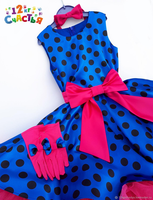 """Платье для девочки """"Стиляги (на синем атласе черный горох)"""""""
