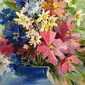 Картины и панно ручной работы. Ярмарка Мастеров - ручная работа Синяя ваза, летний букет. Handmade.
