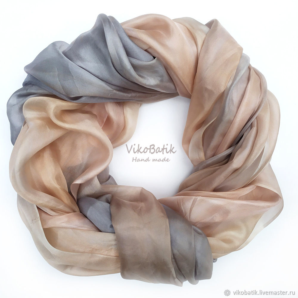 Batik stole 'Powdery and gray' silk 100%, Wraps, Kislovodsk,  Фото №1