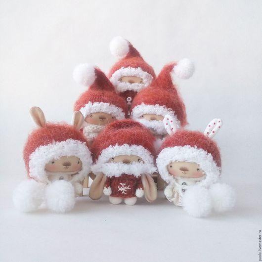 Игрушки животные, ручной работы. Ярмарка Мастеров - ручная работа. Купить Санта зайки). Handmade. Белый, кролик, пряжа