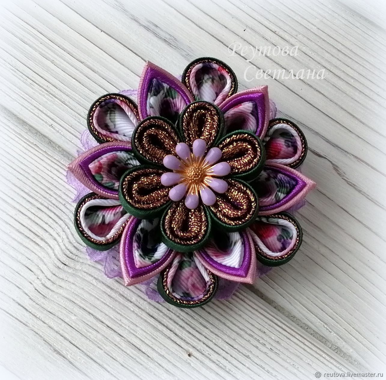 Hair bands in the technique of kanzashi, Hairpins, Chernogolovka,  Фото №1