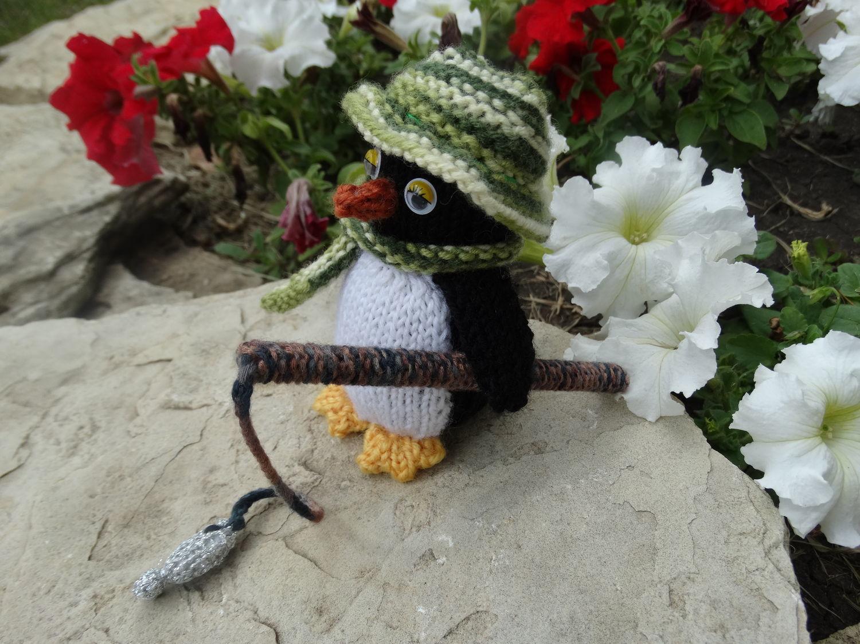 Пингвин. Вязаная игрушка Пингвин-рыбак, Подарки, Липецк, Фото №1