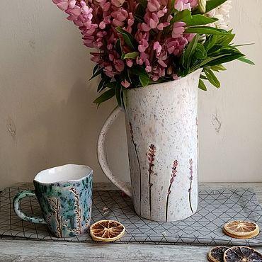 """Посуда ручной работы. Ярмарка Мастеров - ручная работа Кувшин керамический """"лаванда"""". Handmade."""
