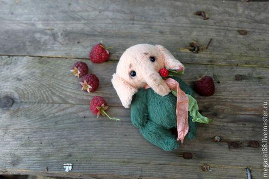 Мишки Тедди ручной работы. Ярмарка Мастеров - ручная работа. Купить Слоненок тедди Ягодка. Handmade. Тёмно-зелёный, персиковый