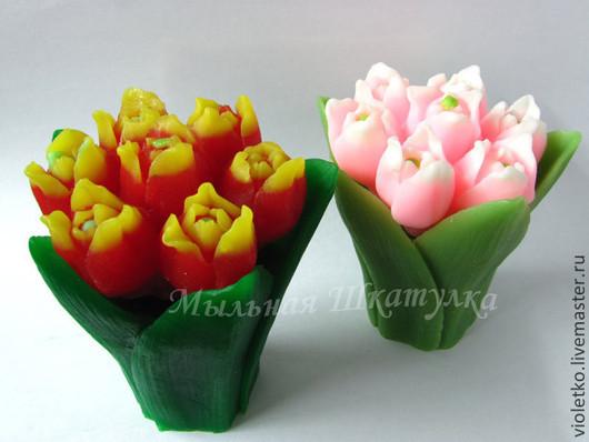 Мыло ручной работы. Ярмарка Мастеров - ручная работа. Купить Мыло Тюльпаны. Handmade. Ярко-красный, мыльные цветы