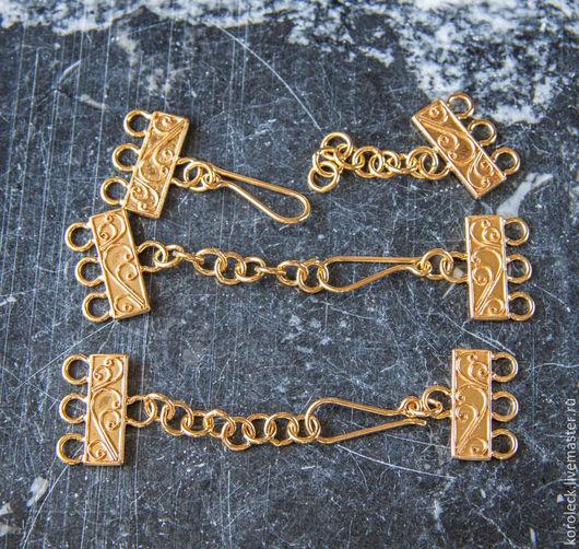 Для украшений ручной работы. Ярмарка Мастеров - ручная работа. Купить Крупная застежка на 3 нити с цепочкой, позолоченное серебро. Handmade.