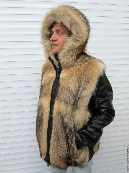 Верхняя одежда ручной работы. Ярмарка Мастеров - ручная работа. Купить Куртка из меха волка  с кожаными рукавами. Handmade. Комбинированный