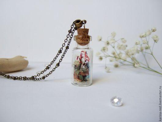 Кулоны, подвески ручной работы. Ярмарка Мастеров - ручная работа. Купить Прозрачный Кулон Баночка Алиса в Стране Чудес Сухоцветы. Handmade.