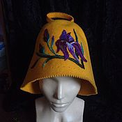 Для дома и интерьера ручной работы. Ярмарка Мастеров - ручная работа Банная шапка Ирисы. Handmade.