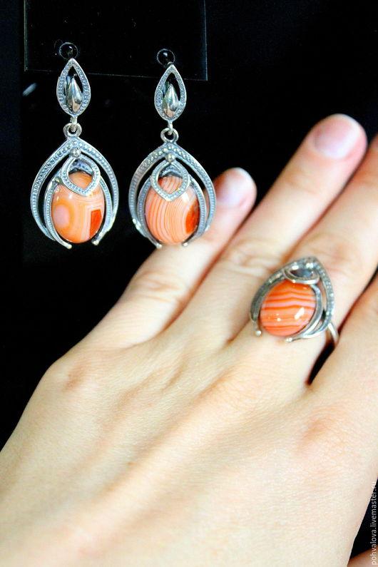 Комплекты украшений ручной работы. Ярмарка Мастеров - ручная работа. Купить Винтажные серьги и перстень с натуральным камнем агат. Handmade.