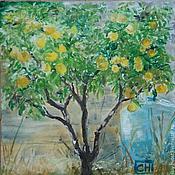 """Картины и панно ручной работы. Ярмарка Мастеров - ручная работа Картина маслом """"Апельсиновое дерево"""" (Италия). Handmade."""