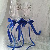 Свадебный салон ручной работы. Ярмарка Мастеров - ручная работа Свадебные бокалы с инициалами. Handmade.