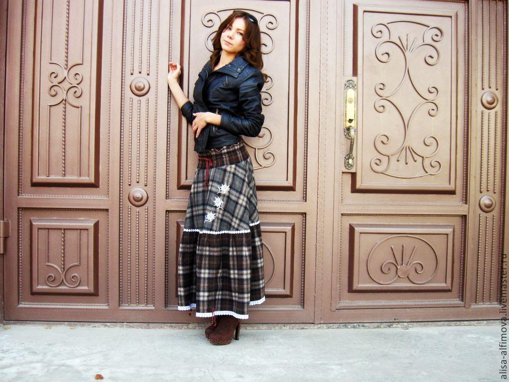 Warm skirt plaid MIDI Maxi,stroynaya wool 'EDELWEISS', Skirts, Tashkent,  Фото №1