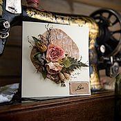 """Открытки ручной работы. Ярмарка Мастеров - ручная работа Открытка """"Здесь живёт Любовь"""" с букетом из сухоцветов. Handmade."""