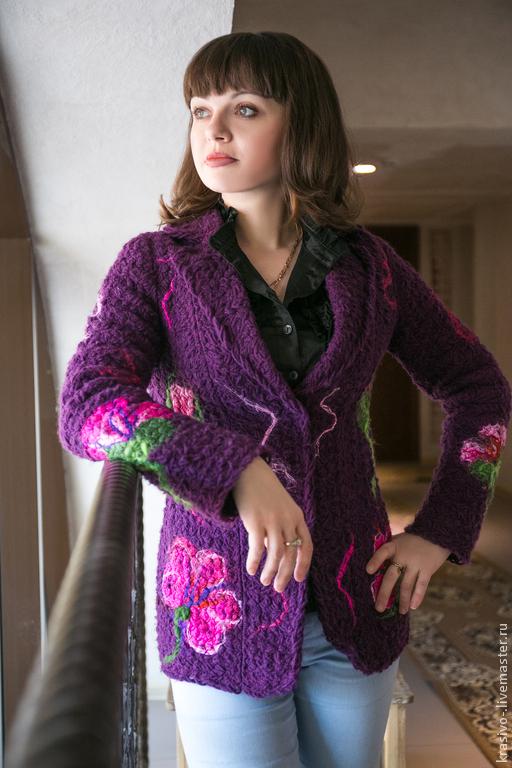 """Пиджаки, жакеты ручной работы. Ярмарка Мастеров - ручная работа. Купить Жакет """"Фиолет"""". Handmade. Фиолетовый, Жакет вязаный, полушерсть"""