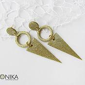 Украшения handmade. Livemaster - original item Geometric long earrings made of polymer clay in gold color. Handmade.