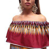Одежда ручной работы. Ярмарка Мастеров - ручная работа Платье с открытыми плечами Mama Africa Red. Handmade.