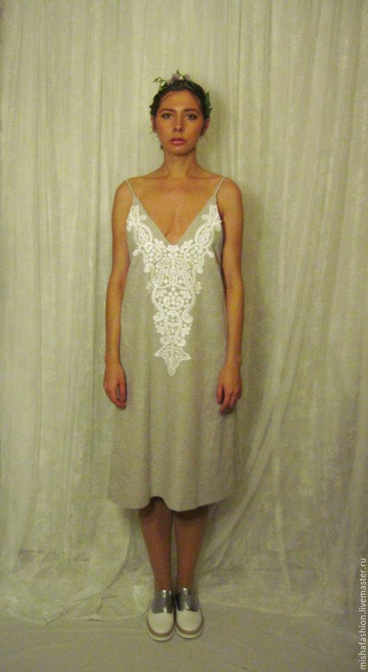 Платья ручной работы. Ярмарка Мастеров - ручная работа. Купить Льняное платье с кружевом. Handmade. Бежевый, лен, mishafashion