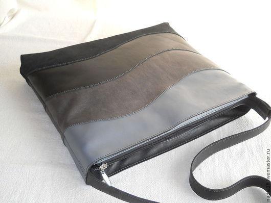 Женские сумки ручной работы. Ярмарка Мастеров - ручная работа. Купить Сумка из кожи Серо-черная наборная. Handmade. Серый