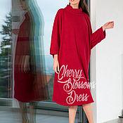 Одежда ручной работы. Ярмарка Мастеров - ручная работа Бордовая макси оверсайз туника, короткое платье, свитер топ с рукавами. Handmade.