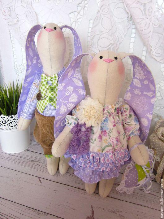 Куклы Тильды ручной работы. Ярмарка Мастеров - ручная работа. Купить Лавандовая парочка зайцев. Handmade. Заяц игрушка, рюши